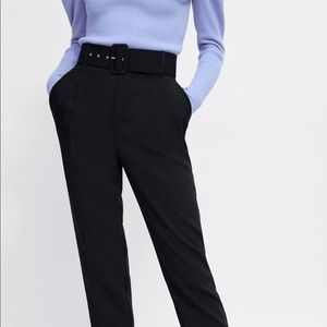 Zara High-Waisted Belted Pants (Black)